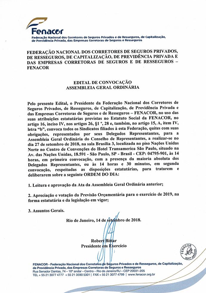 Edital de Convocação da AGO 27/09/2018